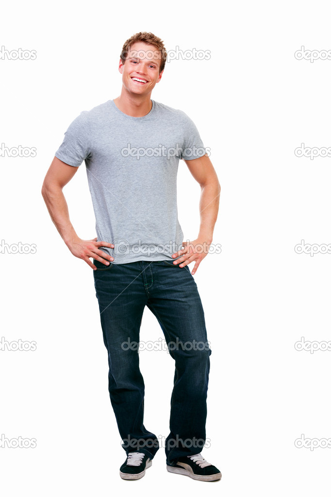Full length of a happy young guy standing against isolated white background — Stock Photo #3268721
