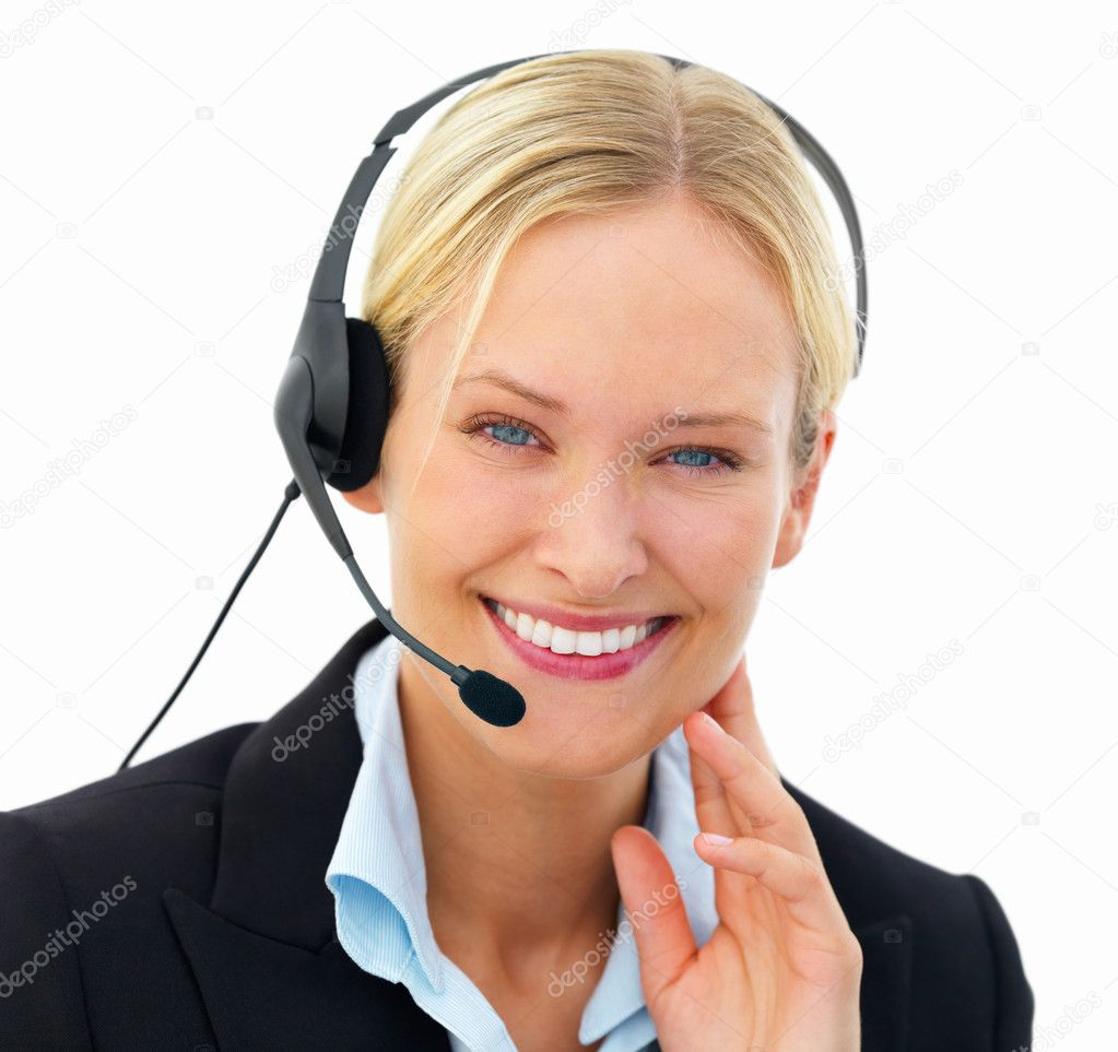 Closeup of a cheerful business woman wearing headset isolated on white background — Stock Photo #3269355
