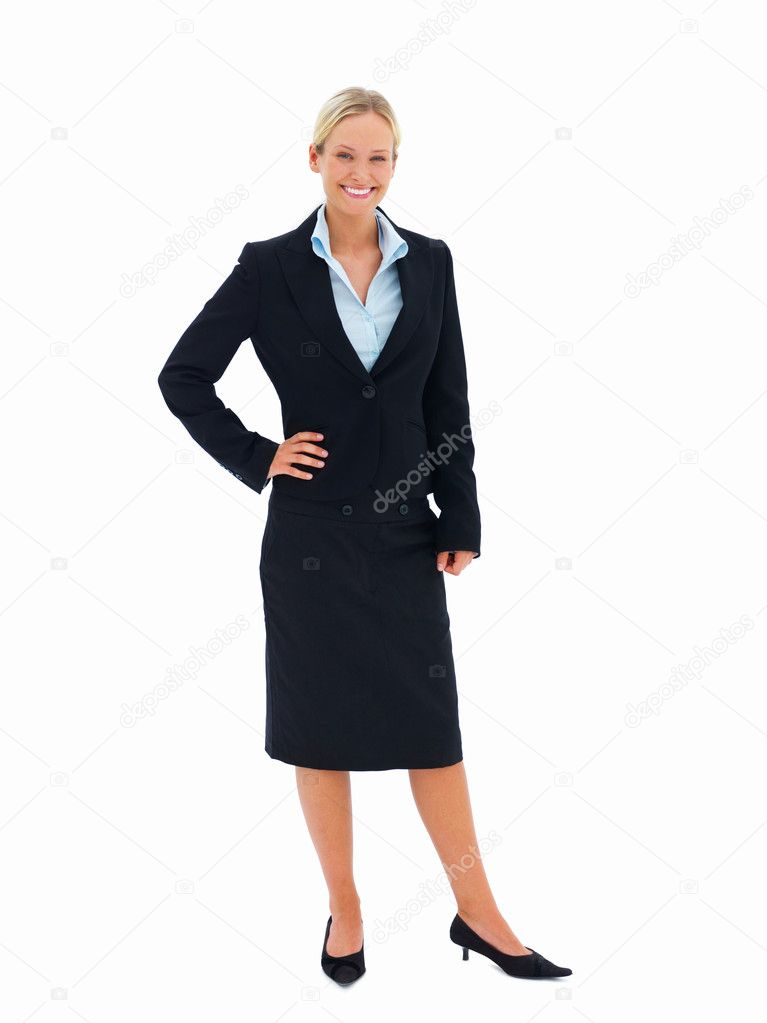 Portrait of young happy smiling business woman, isolated on white — Stock Photo #3269374
