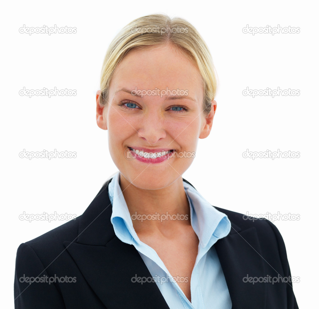 Closeup portrait of young happy smiling business woman isolated on white — Stock Photo #3269375