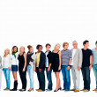 Royalty-Free Stock Photo: Group of smiling friends standing against white background and l