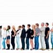 Royalty-Free Stock Photo: Group of friends standing in a row against white background