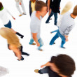 Royalty-Free Stock Photo: Blur view of friends walking against white