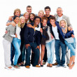 Group of smiling friends against white background - Stock Photo