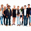 Royalty-Free Stock Photo: Group of smiling friends standing against white background