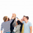Royalty-Free Stock Photo: Group of smiling friends raising hands against white background