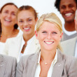 Royalty-Free Stock Photo: Portrait of happy business against white