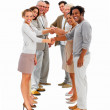 Royalty-Free Stock Photo: Business standing in a row and shaking hands