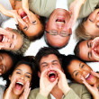 thumbnail of Closeup of business people lying against white background an