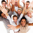 Royalty-Free Stock Photo: Happy business with hands up in air