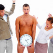 Royalty-Free Stock Photo: Business colleagues looking at a naked man