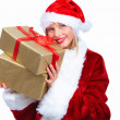 Royalty-Free Stock Photo: Santa woman holding a gift isolated on white background