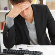 Closeup portrait of a young man stressed - Stock Photo