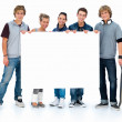 Royalty-Free Stock Photo: Full length portrait of students holding copyspace