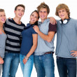 Portrait of young friends standing together isolated - Stock Photo