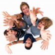 Royalty-Free Stock Photo: Top view of young friends with hands raised