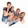 Royalty-Free Stock Photo: Top view of friends showing thumbs up sign