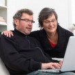 Royalty-Free Stock Photo: Mature couple sitting on sofa and looking at laptop