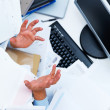 Royalty-Free Stock Photo: Office work - males hands showing confusion