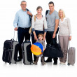 Royalty-Free Stock Photo: Portrait of a happy family prepared to go traveling