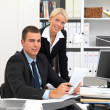 Royalty-Free Stock Photo: Businessman and woman working in office