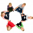 Royalty-Free Stock Photo: Group of happy kids looking up in unity