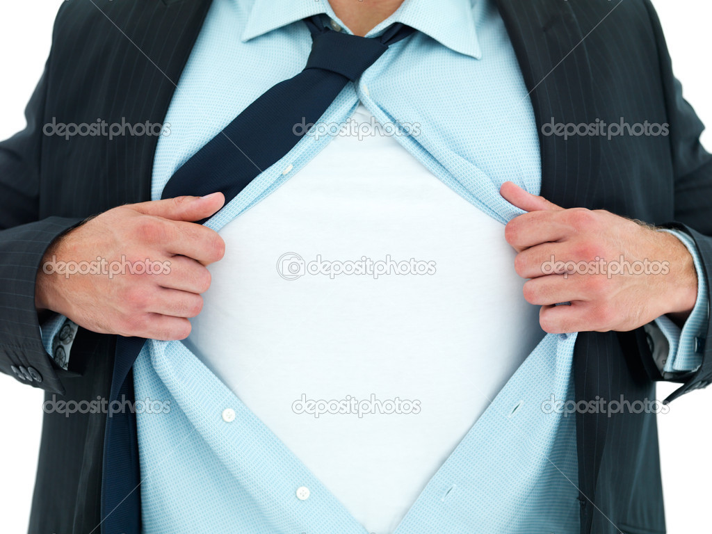 Closeup of a young business man expressing frustration isolated on white background — Stock Photo #3270219