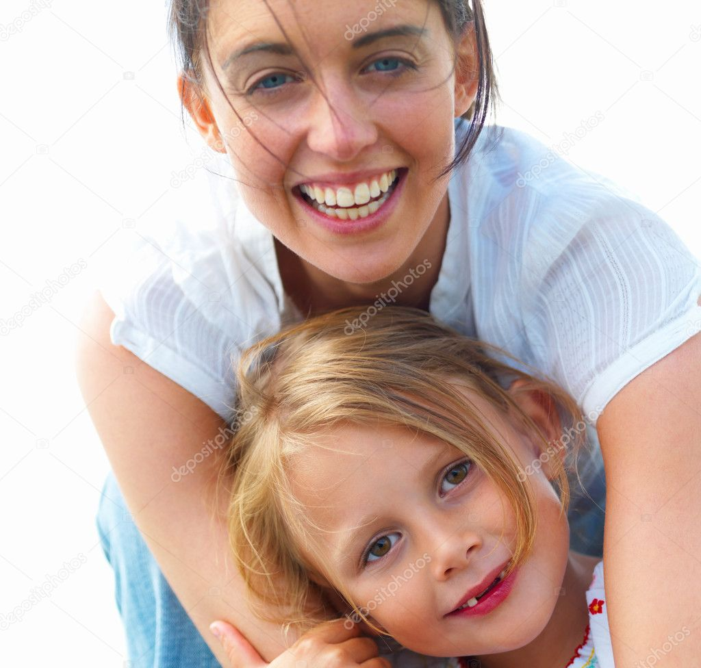 Portrait of a laughing young mother with her daughter — Stock Photo #3270953