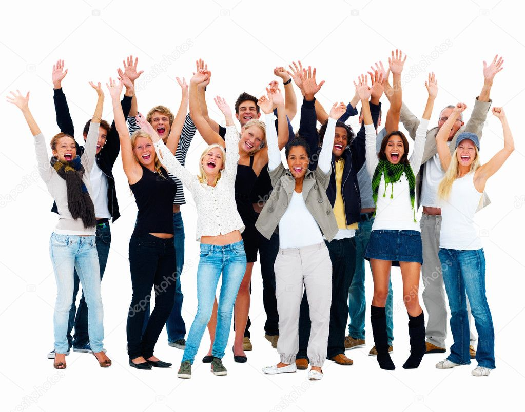 Group of young happy waving their arms,copyspace — Stock Photo #3272823