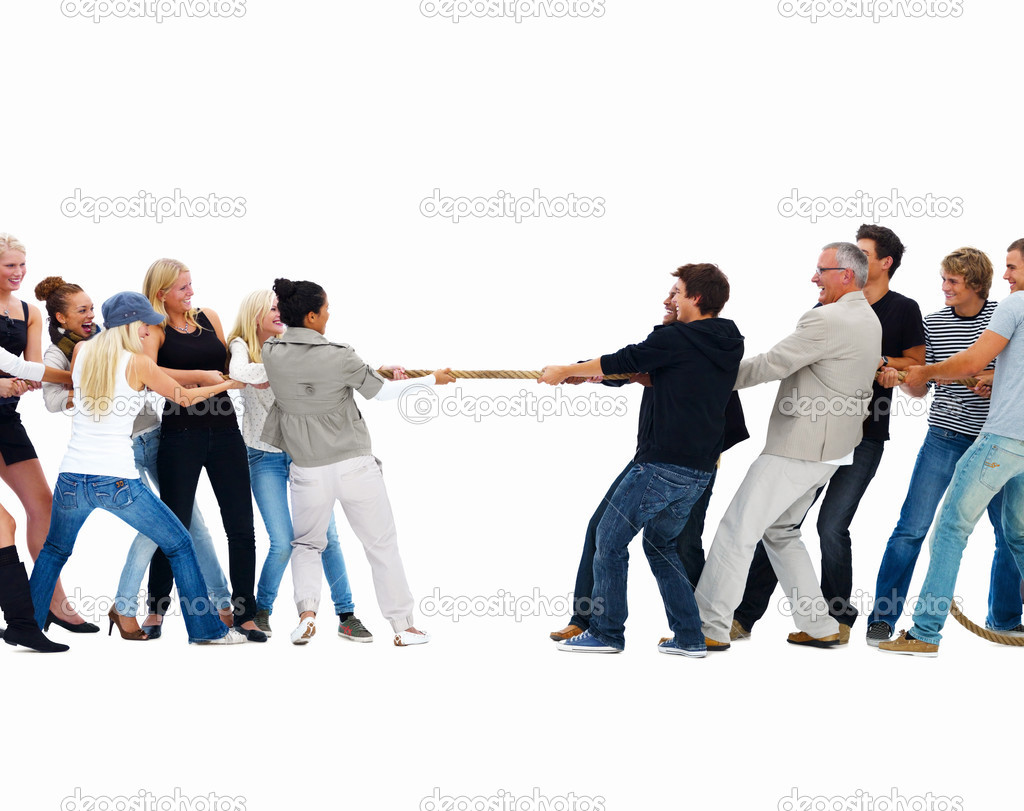 Men and women playing tug of war against white background  Stock Photo #3272830