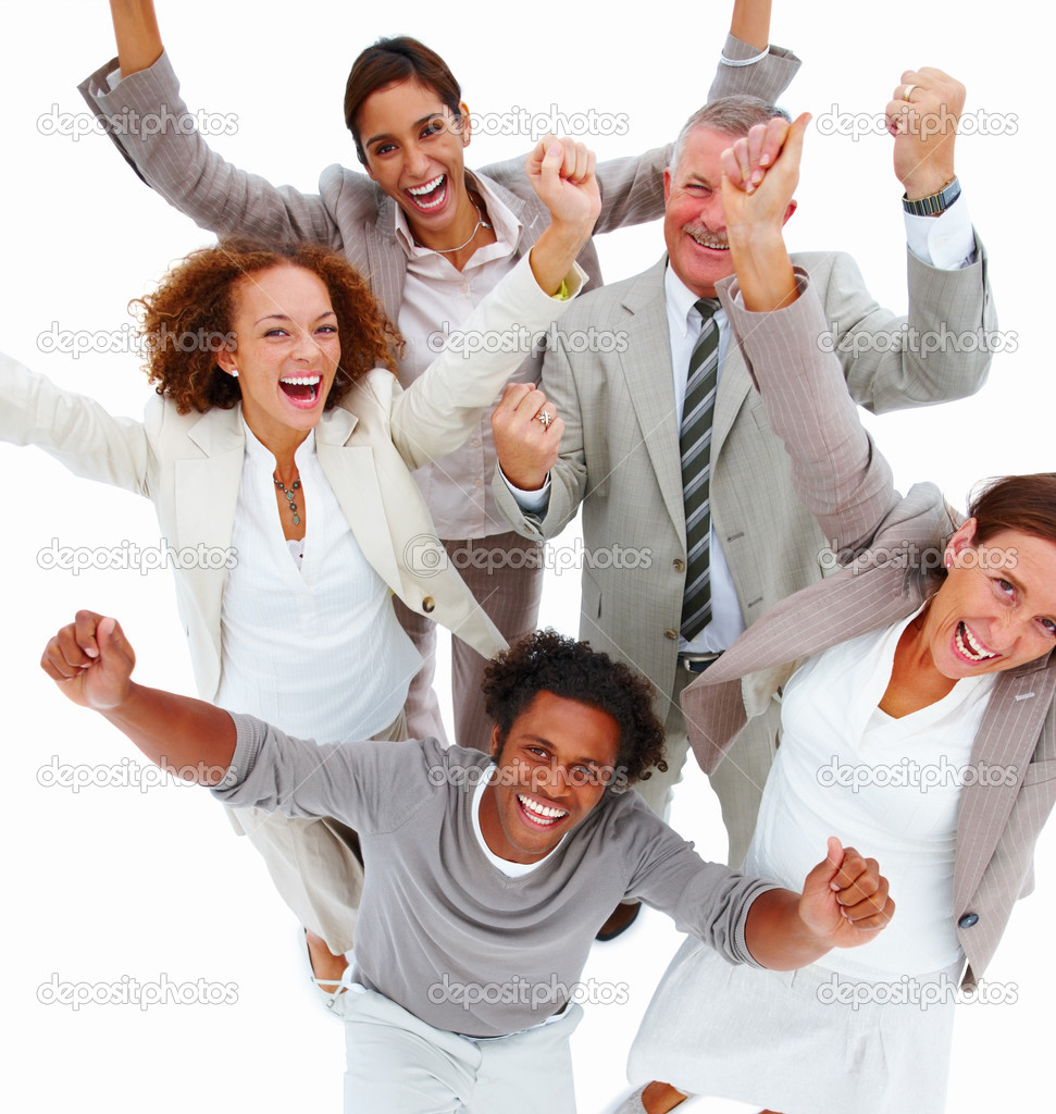 Portrait of happy business having fun ,isolated — Stock Photo #3273898