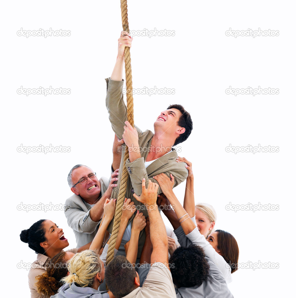 Young man struggleing to get free of the crowd — Stock Photo #3275213
