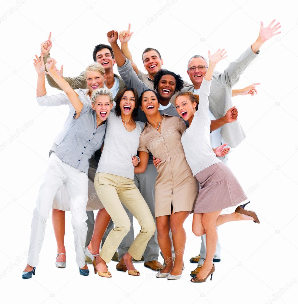 Excited group of business -isolated — Foto Stock #3275302