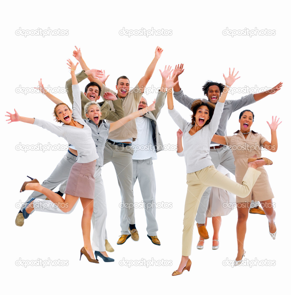 Business group-jumping with success — Stock Photo #3275305