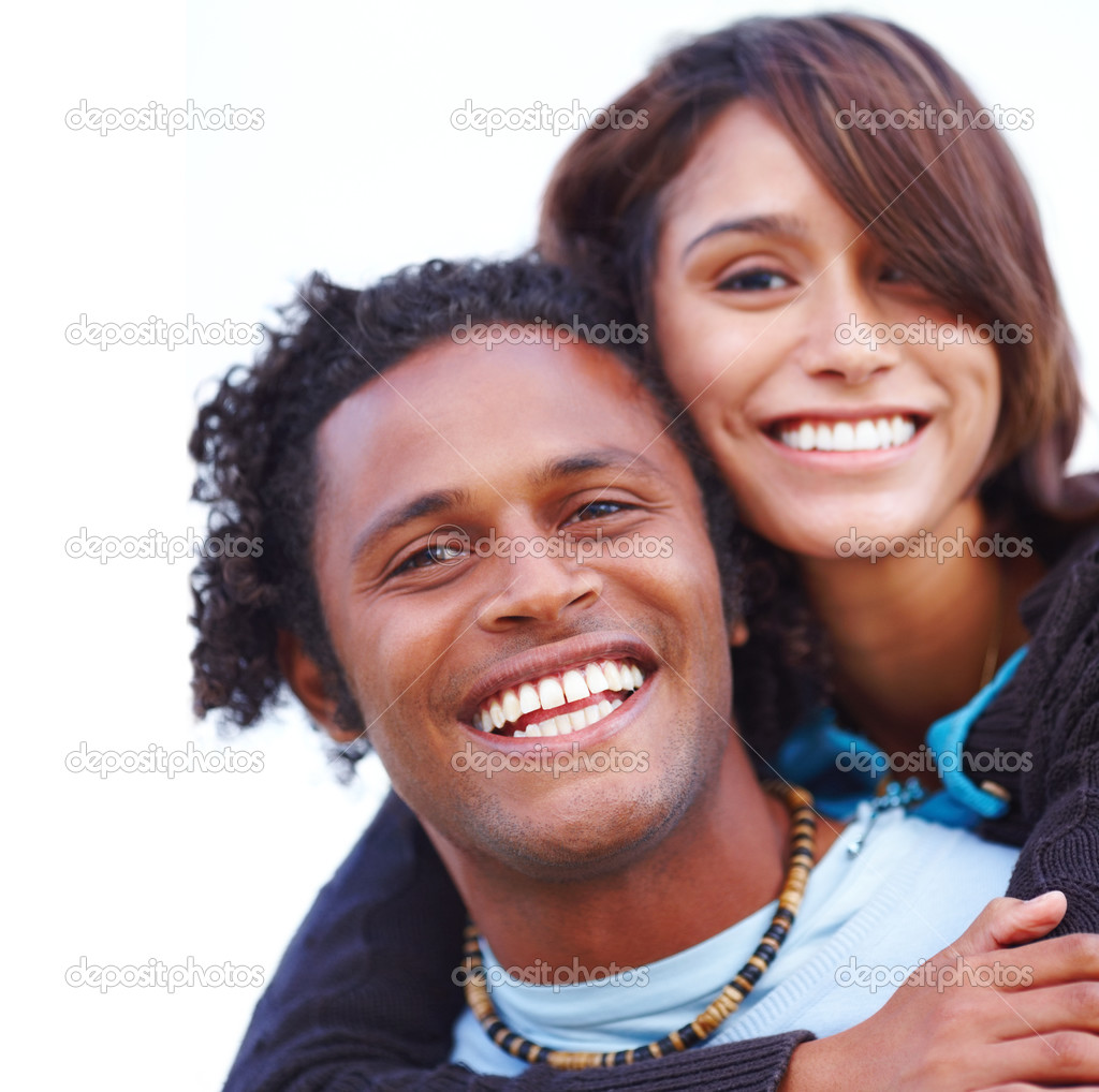 Isolated portrait of a happy young couple — Stock Photo #3275590