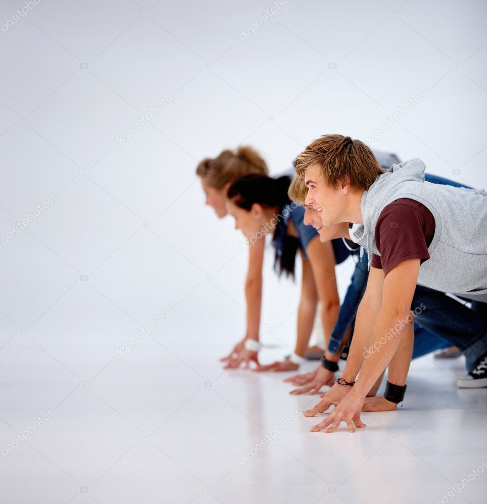 Group of young ready to run — Stock Photo #3277421