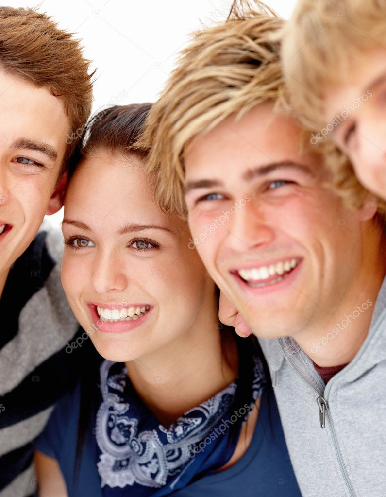 Happy young teens checking out something — Stock Photo #3277443