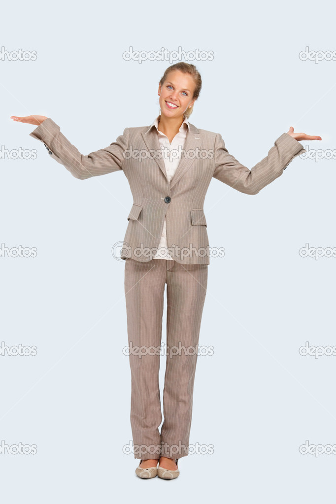 Full length of a young business woman with hands spread isolated on white background — Stock Photo #3278140
