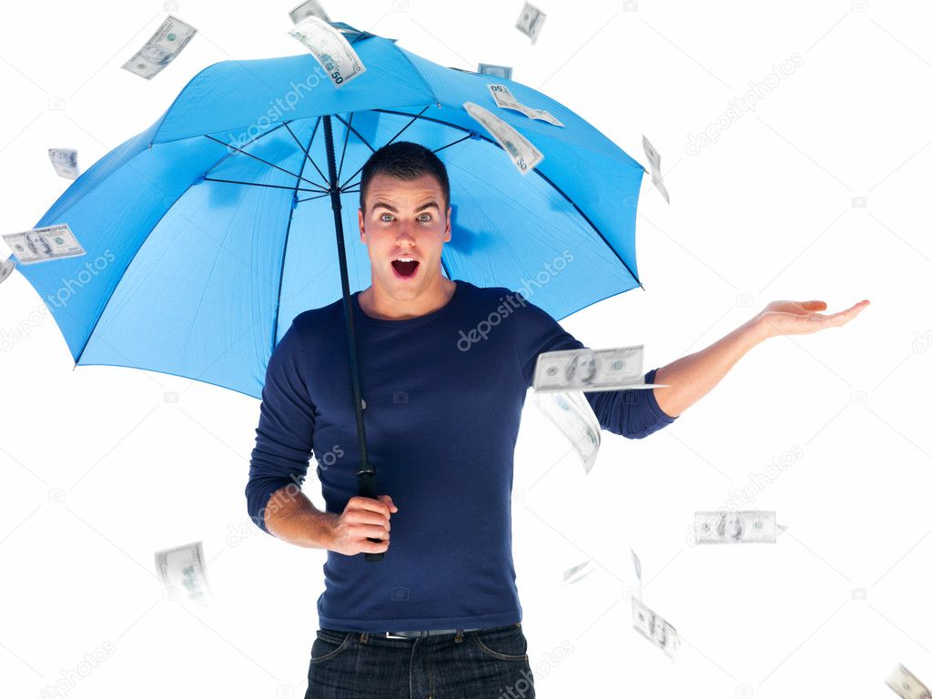 Closeup portrait of a young man attending with an umbrella under money rain isolated on white background  Stock Photo #3278835