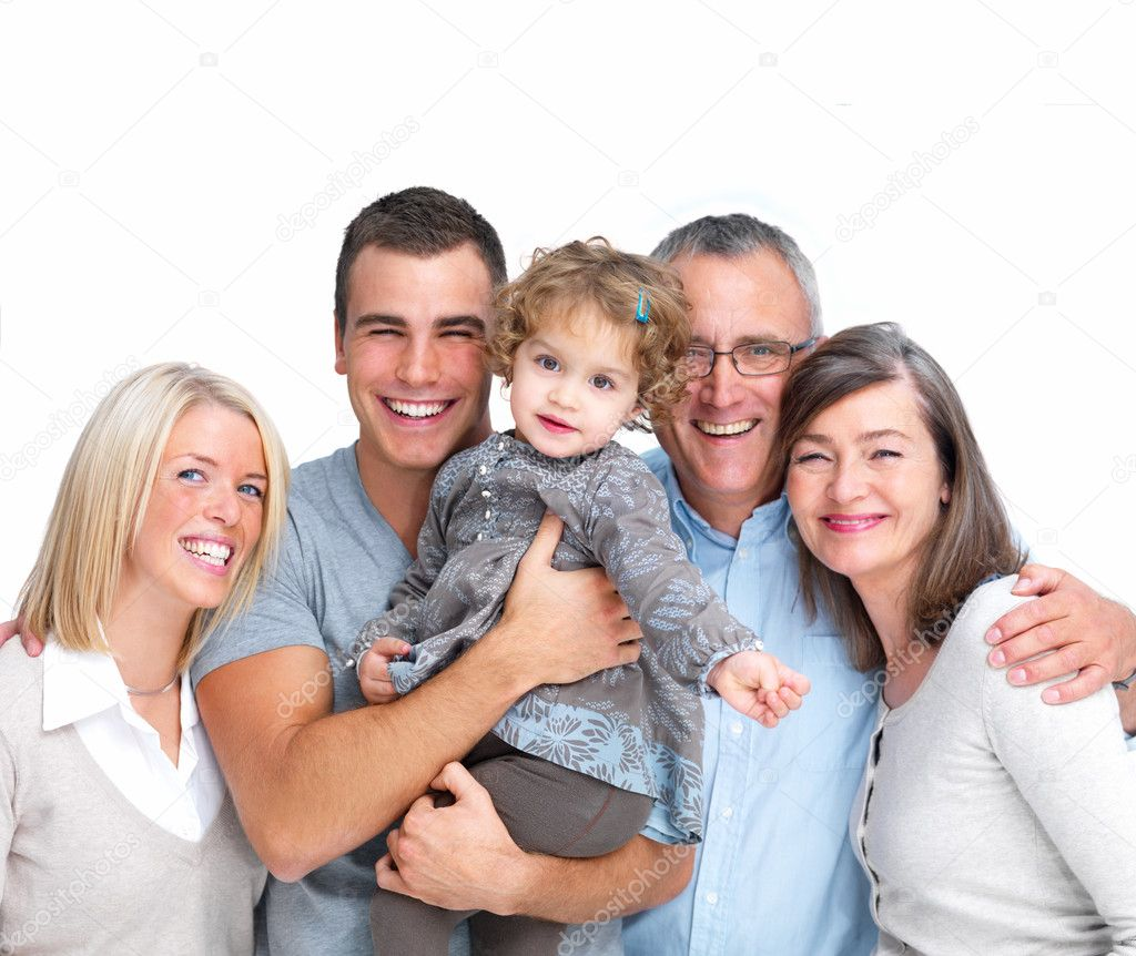 Closeup portrait of a happy family standing together isolated on white background — Stock Photo #3279003