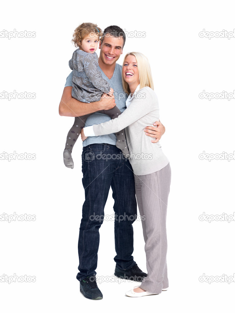 Full length portrait of a happy man standing with kid and wife isolated on white background — Stock Photo #3279019