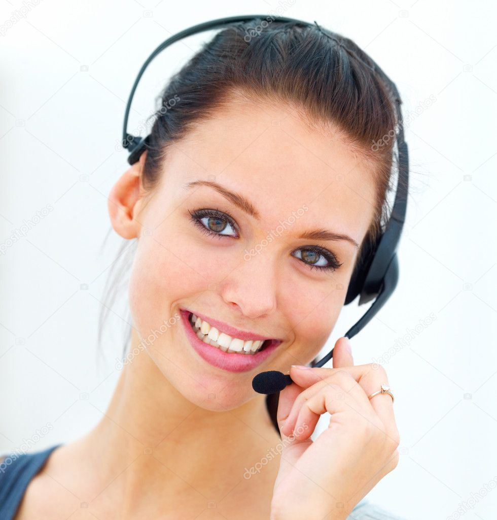 Closeup portrait of a happy young woman wearing headphones  Stock Photo #3279318