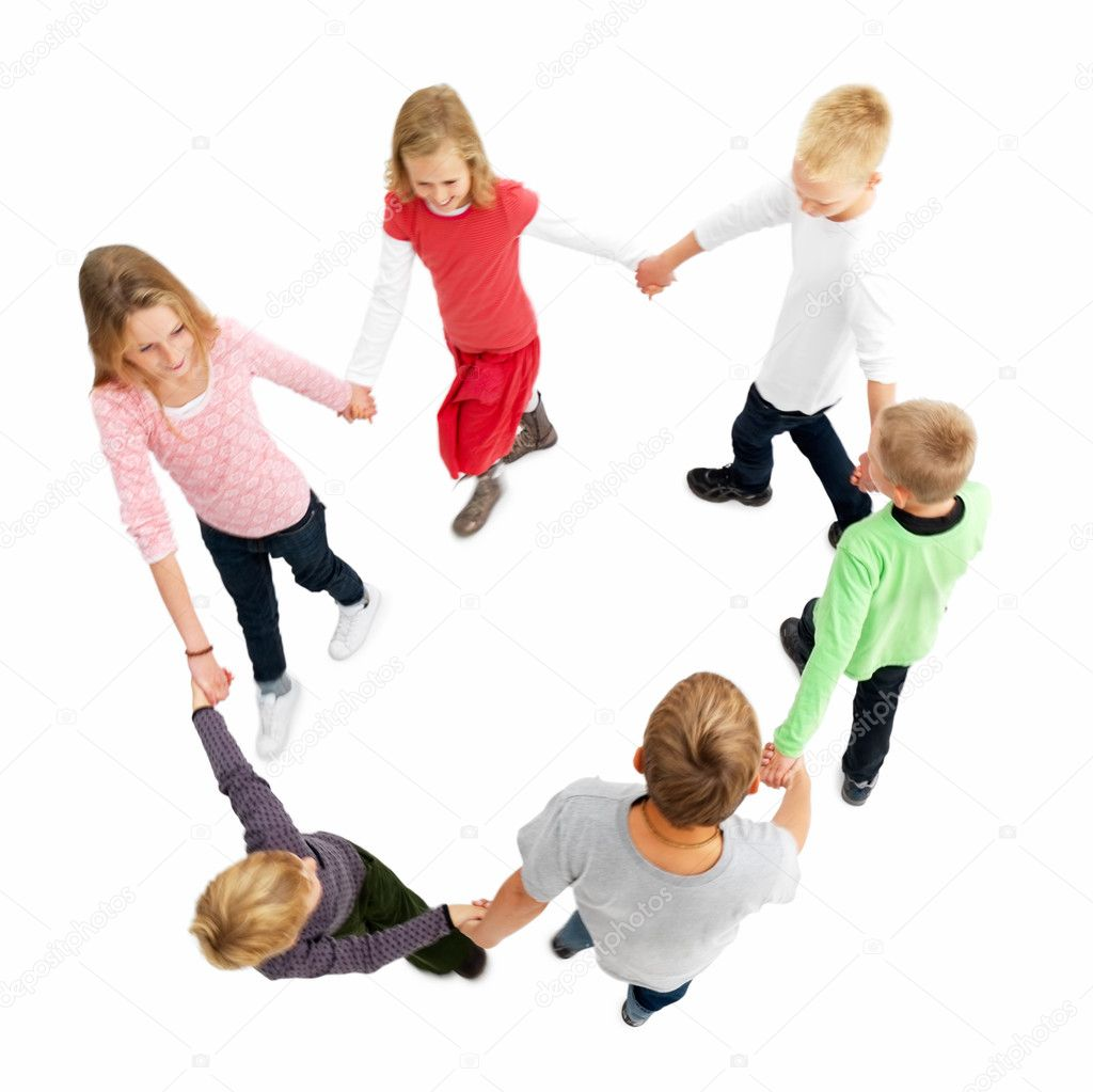 Full length portrait of young boys and girls walking in a circle on with hands together isolated on white background  Stock Photo #3279751