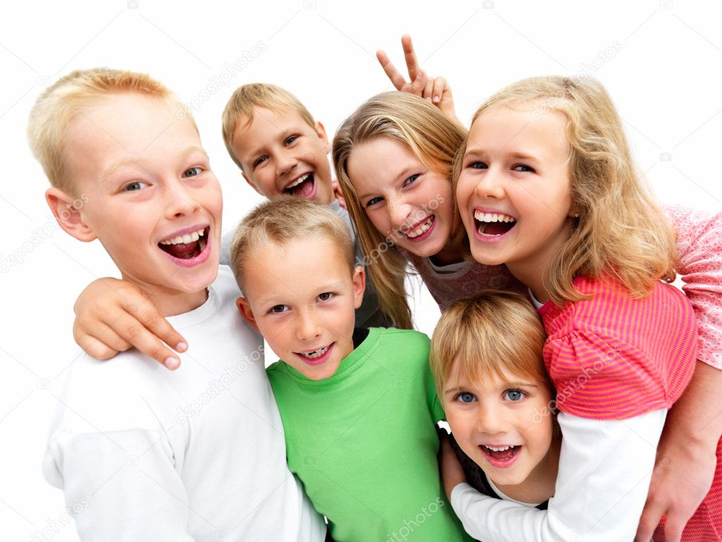 Closeup portrait of a young boys and girls smiling isolated on white background — Stock Photo #3279793