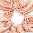Royalty-Free Stock Photo: Unity - Lots of hands on white