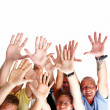 Successful - Human hands against copyspace - Stock Photo
