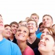 Group of happy modern looking at copyspace - Stock Photo