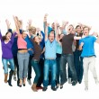 Large group of jumping together - Stock Photo
