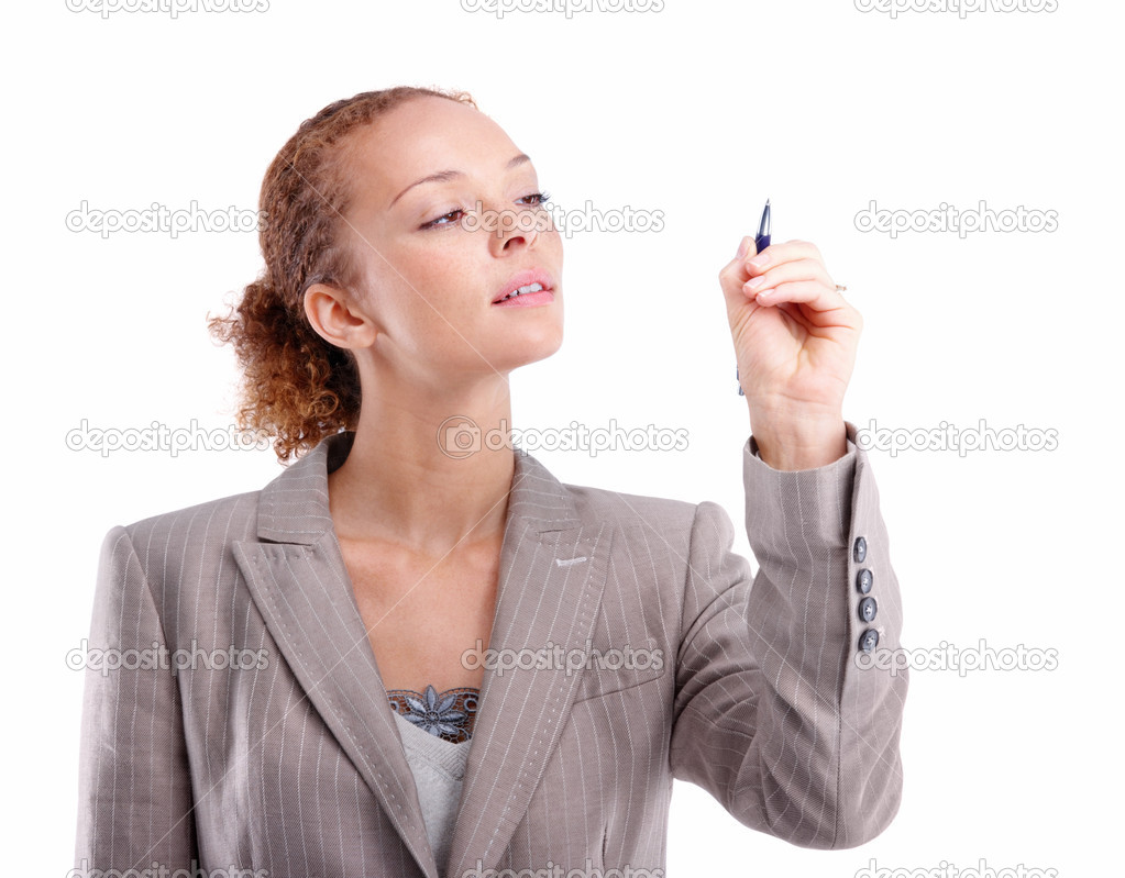 Closeup portrait of a business woman holding a pen isolated on white background — Stock Photo #3280199