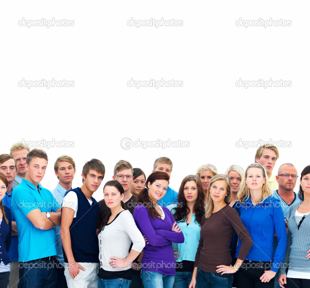 Portrait of men and women standing together against white background  Stock Photo #3289927